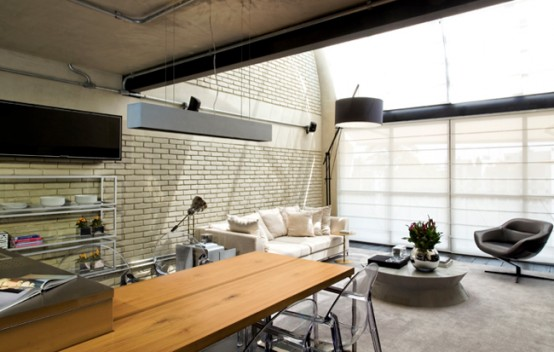 Industrial Loft Design With Brick-Like Walls