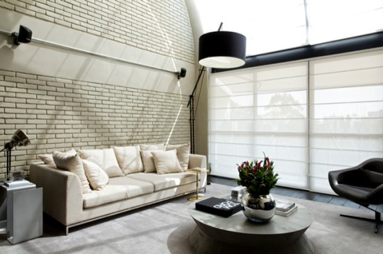 Idustrial Loft Design With Brick Walls
