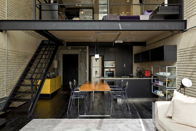 Industrial Loft Design With Brick Like Walls Digsdigs
