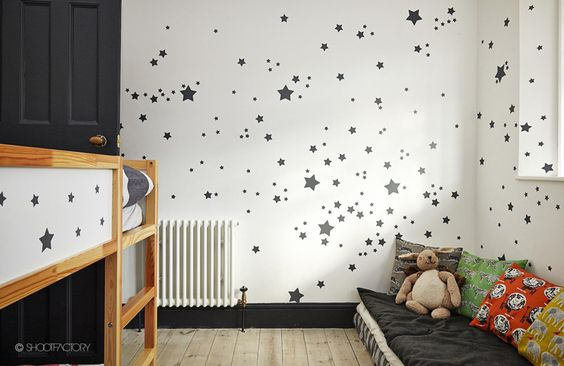 if you have an interesting pattern on a wall you can easily repeat it on a ikea kura bed