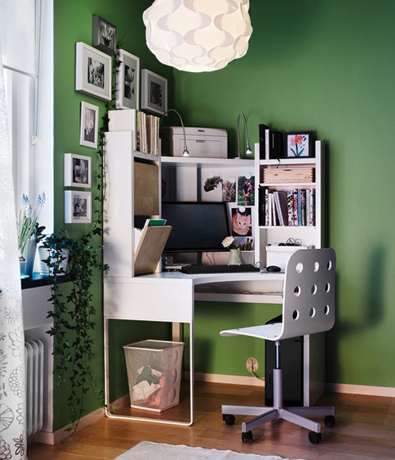 Ikea workspace organization ideas 2011 digsdigs for Home office corner desk ideas