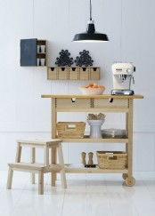 an Ikea Forhoja cart is a perfect kitchen island or part of kitchen furniture, it features much storage and some can hold some appliances