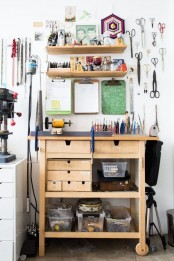 a cratign station made of an IKEA Forhoja cart, with some shelves over it and a pegboard with hooks for storing even more things