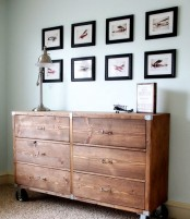 a rustic Tarva hack stained dark and on casters is a great fit for an industrial or rustic interior