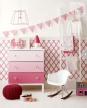 an ombre pink Tarva hack, with each drawer painted in its own color and glass knobs