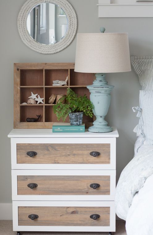 white framing and wood stain Tarva hack with antique handles as a rustic nightstand for a bedroom