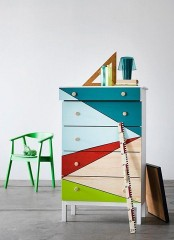 a super colorful IKEA Tarva dresser with geometric patterns will brign color to your modern or contemporary space