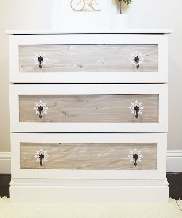 a vintage Tarva revamp with white paint, weathered wood drawers, vintage metal pulls for a touch of vintage chic