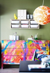 a super bright Tarva hack with all kinds of paint and graphic patterns for a contemporary space