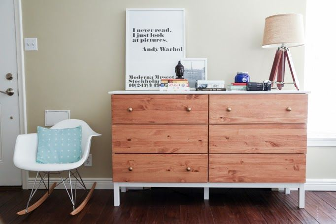 a dark stained Tarva dresser with a white countertop and legs for a modern yet rustic look