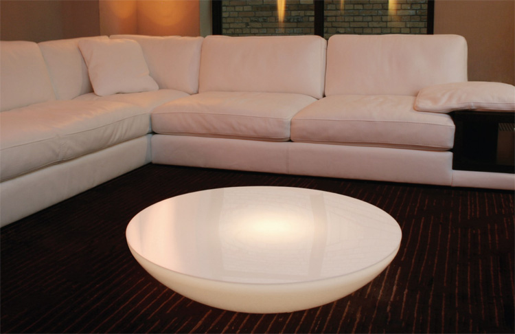 Translucent led light tables lounge from moree digsdigs Led coffee table