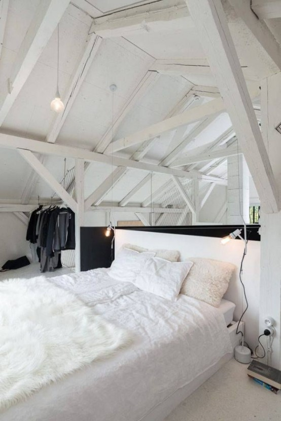 29 impressive and chic loft bedroom design ideas digsdigs - Chambre sous combles couleurs ...