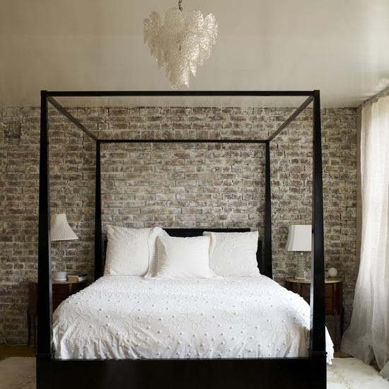 add class to your bedroom with an exposed brick wall - it will work for almost any style