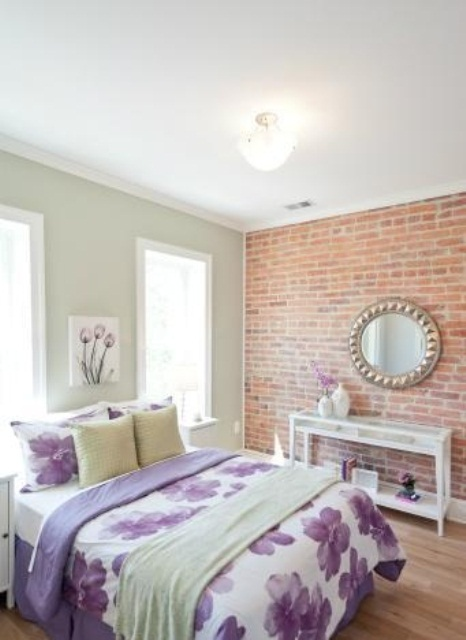 if you have a glam or girlish bedroom that requires a certain color scheme, why not choose a tone of brick that matches, here orange