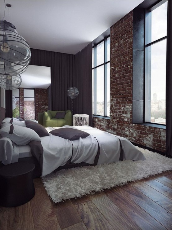 a contemporary bedroom is spruced up with a fake red brick wall that makes it less polished and more interesting