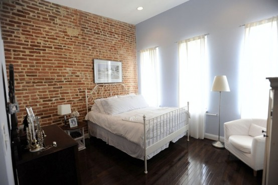 65 interesting bedrooms designs with brick walls for Bedroom w brick wall