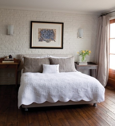 a fake white brick wall will make your bedroom more eye-catchy and will give it a character