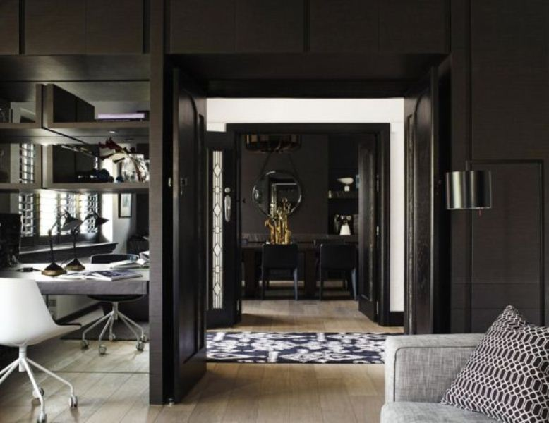 Modern Black House Bright Accents Impressive Black Interior Design With Gold And Orange Accents