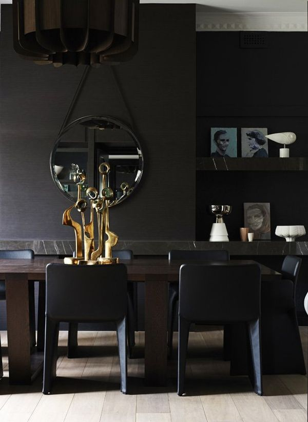 Impressive black interior design with gold and orange - Black walls in dining room ...
