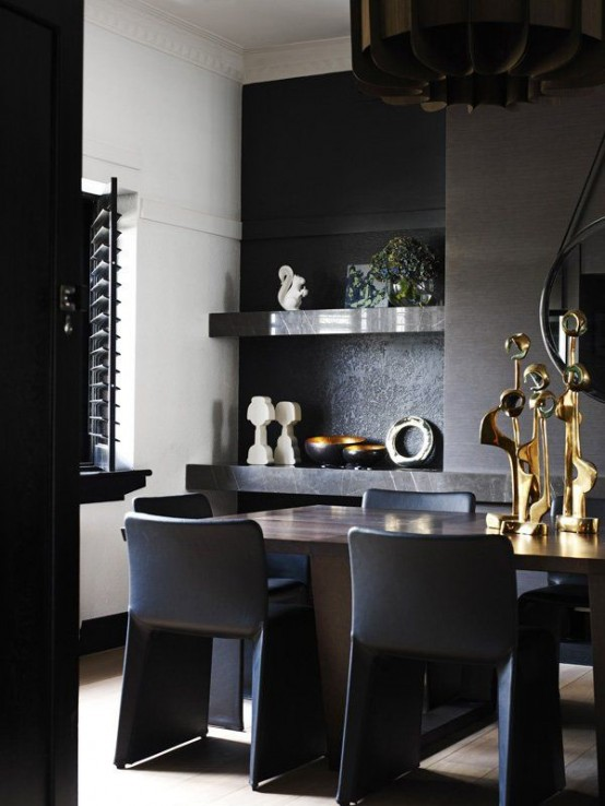 Impressive Black Interior Design With Gold And Orange