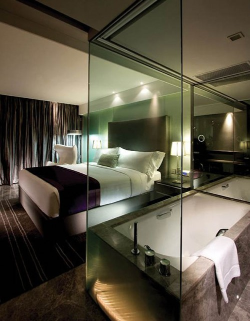 33 cool hotel style bedroom design ideas digsdigs for Interior design bedroom and bathroom