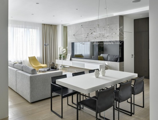 Impressive Modern Apartment With Green And Yellow Touches