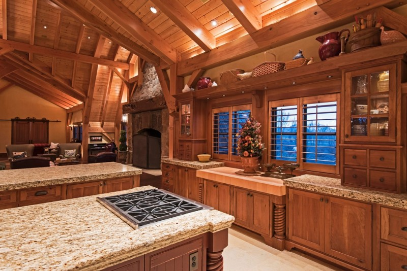 Picture Of incredible barn mansion made of wood and stone in utah  13