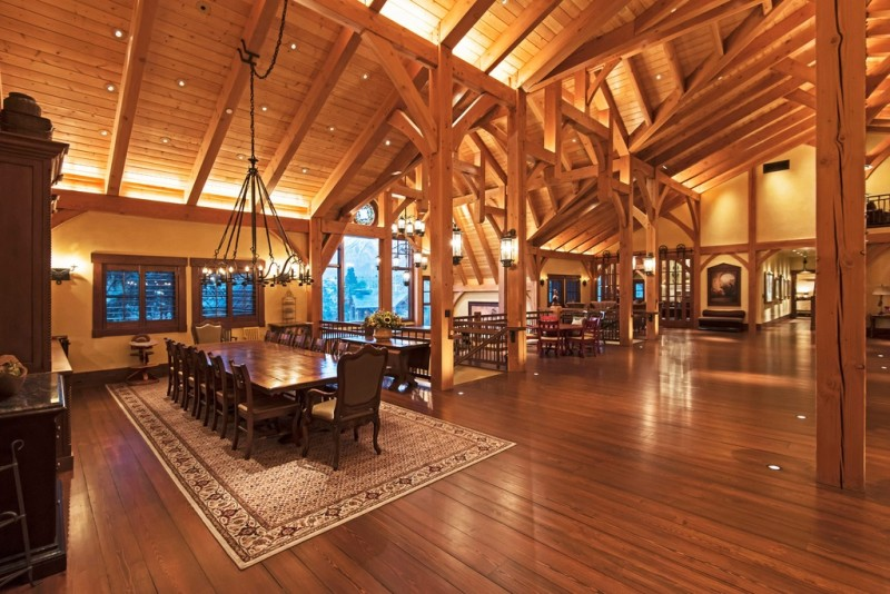 Picture Of incredible barn mansion made of wood and stone in utah  14