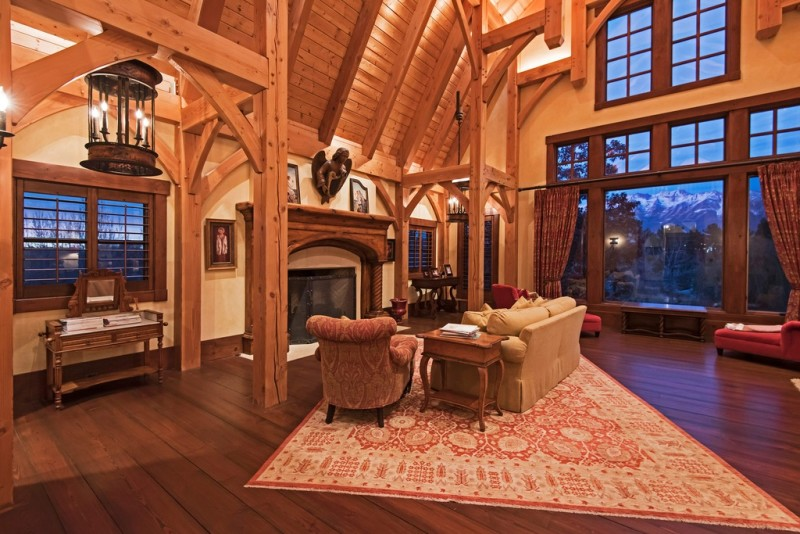 Picture Of incredible barn mansion made of wood and stone in utah  17