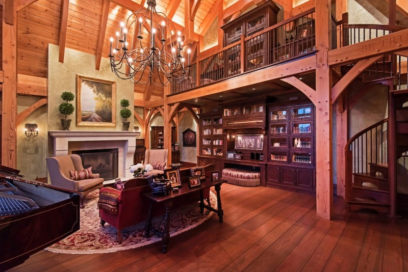 Picture Of incredible barn mansion made of wood and stone in utah  21