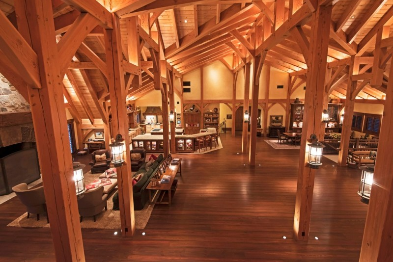 Picture Of incredible barn mansion made of wood and stone in utah  22