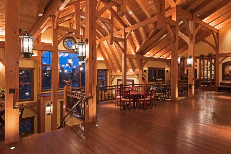 Picture Of incredible barn mansion made of wood and stone in utah  3
