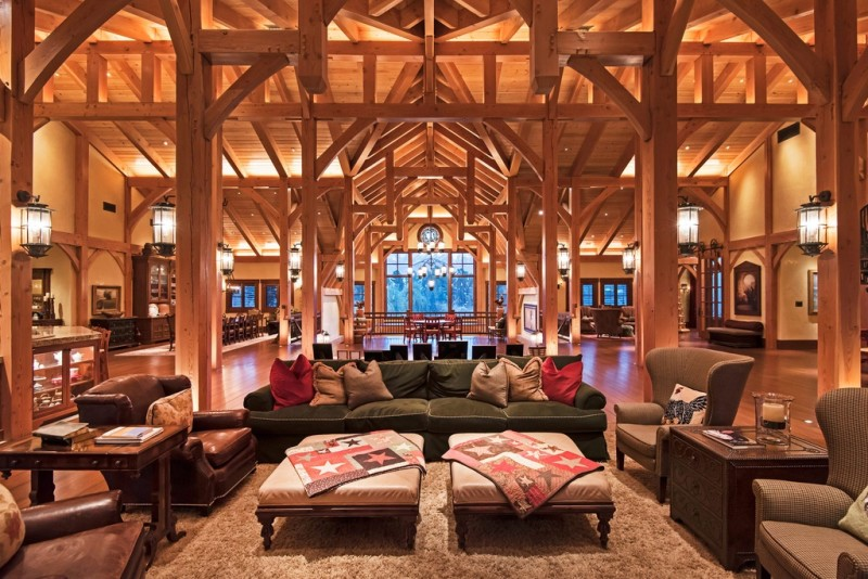 Picture Of incredible barn mansion made of wood and stone in utah  5