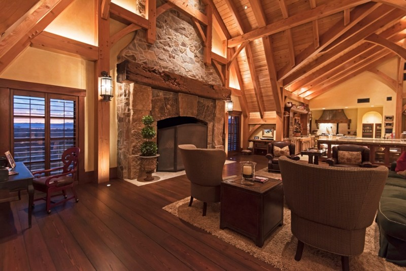 Picture Of Incredible Barn Mansion Made Of Wood And Stone In Utah 6