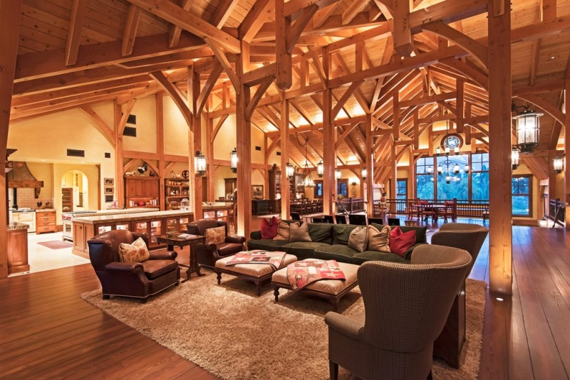 Picture Of incredible barn mansion made of wood and stone in utah  7