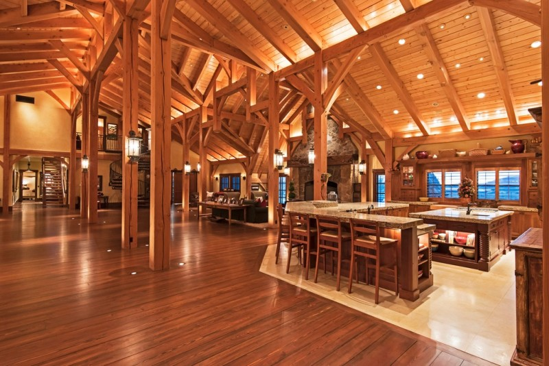 Picture Of incredible barn mansion made of wood and stone in utah  8