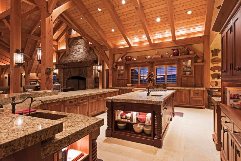 Picture Of incredible barn mansion made of wood and stone in utah  9