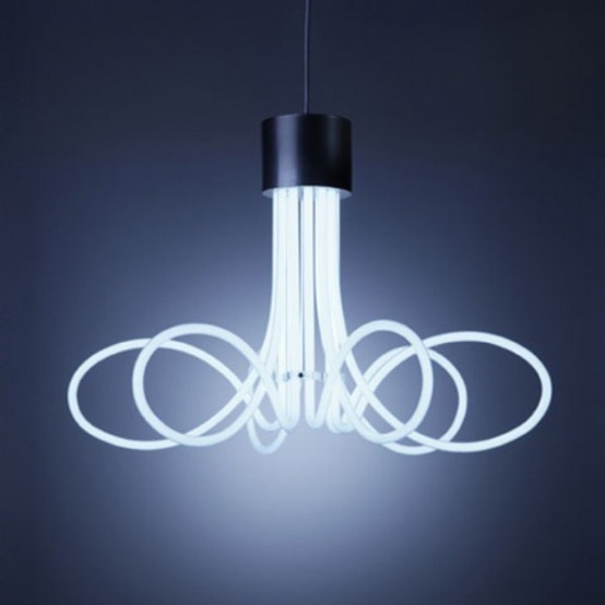 Industrial and minimalist neon chandeliers digsdigs for Industrial minimalist design