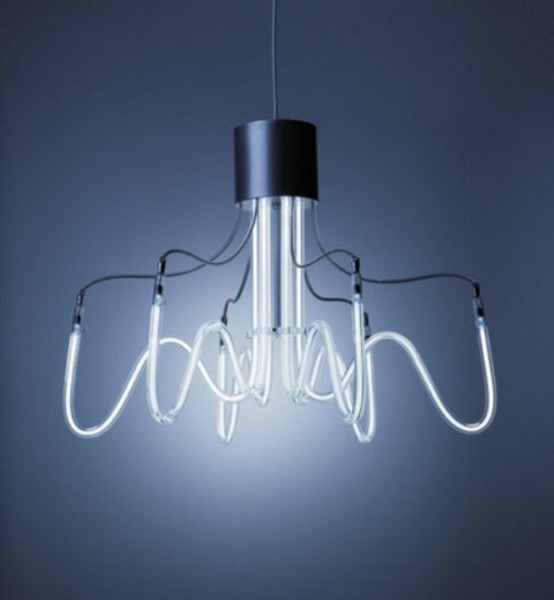 Industrial And Minimalist Neon Chandeliers