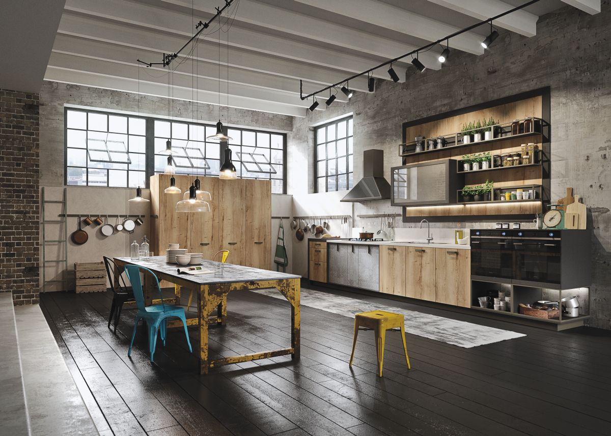 Industiral and rustic loft kitchen by snaidero digsdigs for Industrial modern kitchen designs