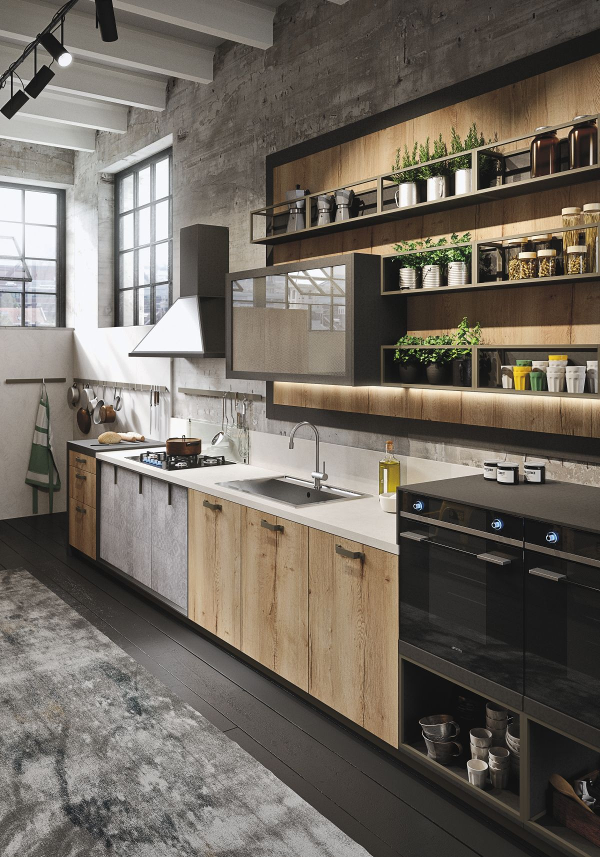 Industiral and rustic loft kitchen by snaidero digsdigs for Industrial style kitchen