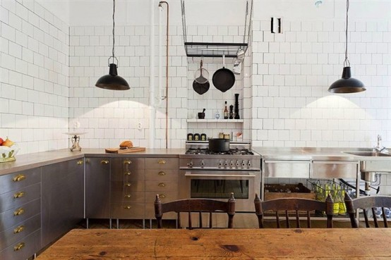 Industrial And Vintage Kitchen Design In Stockholm