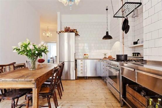 Industrial And Vintage Kitchen Design In Stockholm