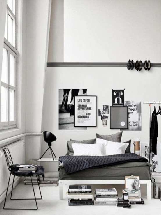 33 industrial bedroom designs that inspire digsdigs - Deco noir et blanc chambre ...
