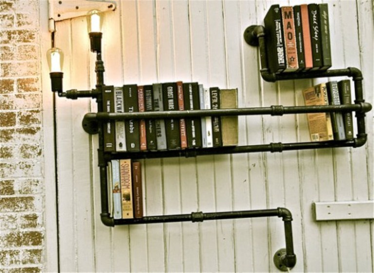 industrial black plumber bookshelves digsdigs