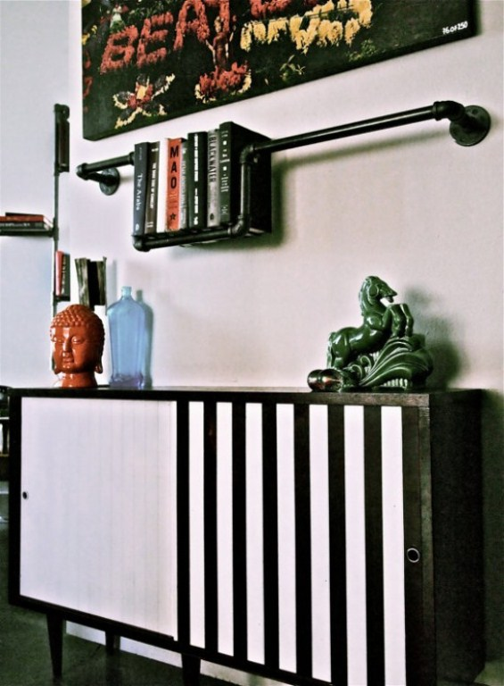 Industrial Black Plumber Bookshelves | DigsDigs