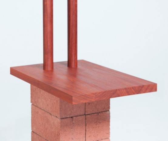 Industrial Building Furnishings Of Bricks And Wood