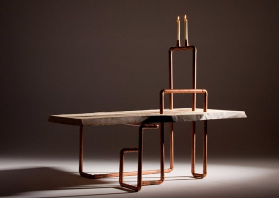 Industrial Copper Piping And Wood Furniture