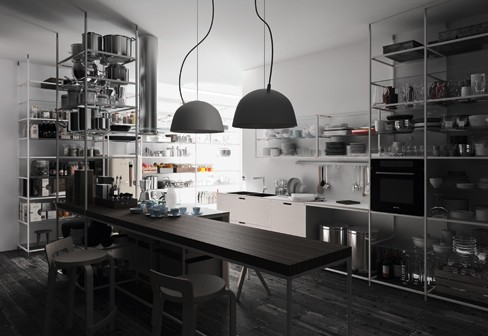 if you want a reustarant like kitchen at home then here is a great example - Industrial Kitchen
