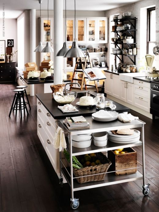 59 cool industrial kitchen designs that inspire digsdigs for Industrial style kitchen